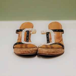 Cole Haan Black and White sandals with Cork Wedges
